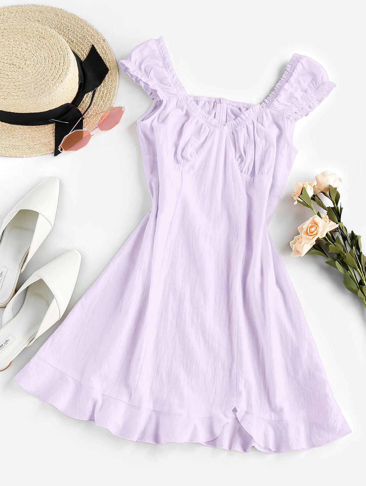 ZAFUL Frilled Flounce Mini A Line Dress