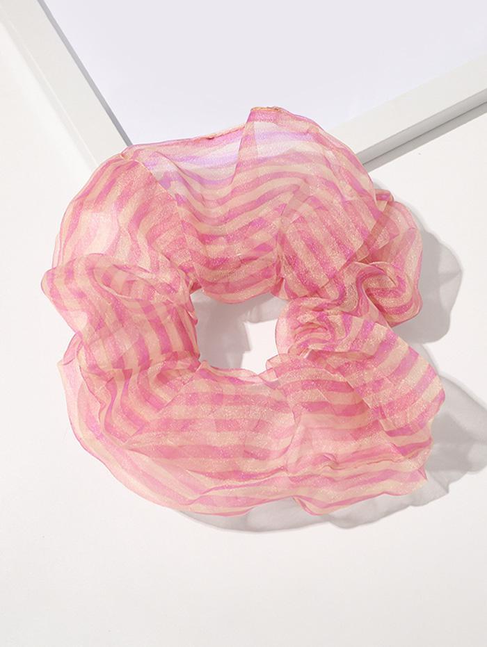 Organza Elastic Stripes Print Scrunchy
