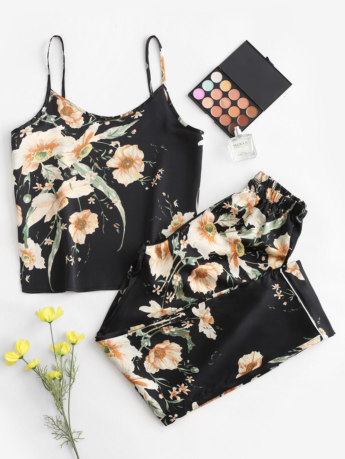 Floral Piping Pajama Set