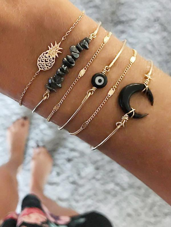 6Pcs Natural Stone Moon Bracelet Set