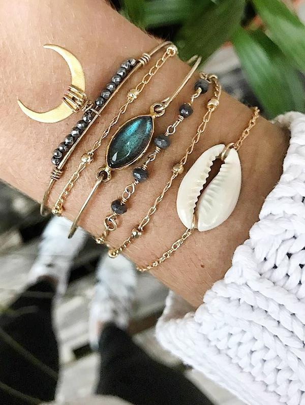 6Pcs Crescent Cowrie Shell Beads Bracelet Set