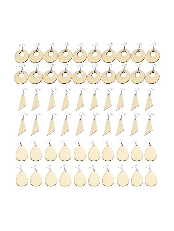 60Pcs DIY Assembly Crafts Wood Earrings Accessories Set