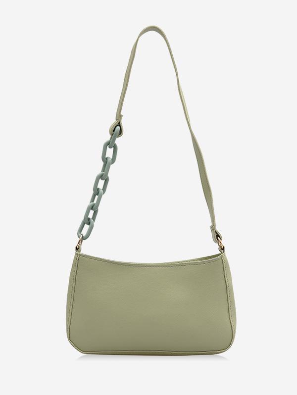 Solid Color Leather One Shoulder Bag