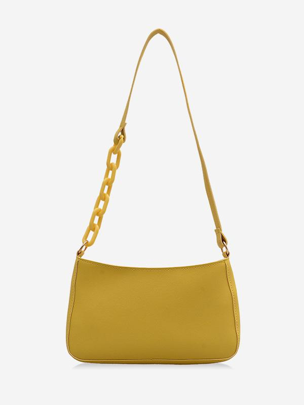 Solid Color Leather One Shoulder Bag