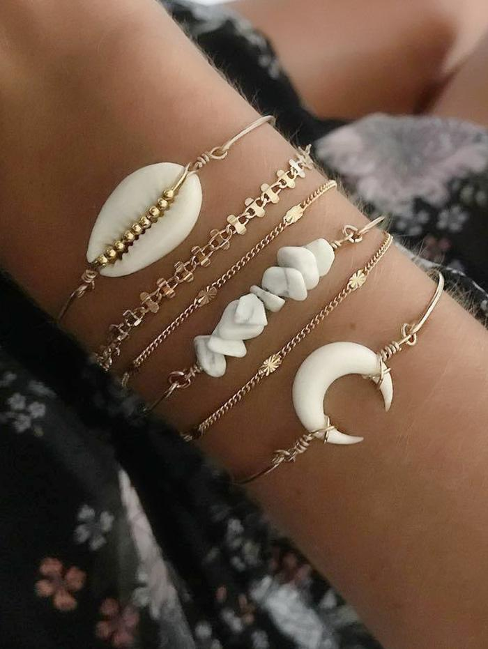 6Pcs Natural Cowrie Shell Stone Bracelet Set