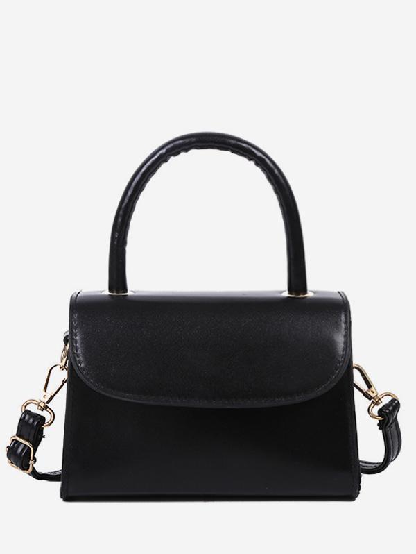 Solid Color Flap Top Handle Mini Crossbody Bag