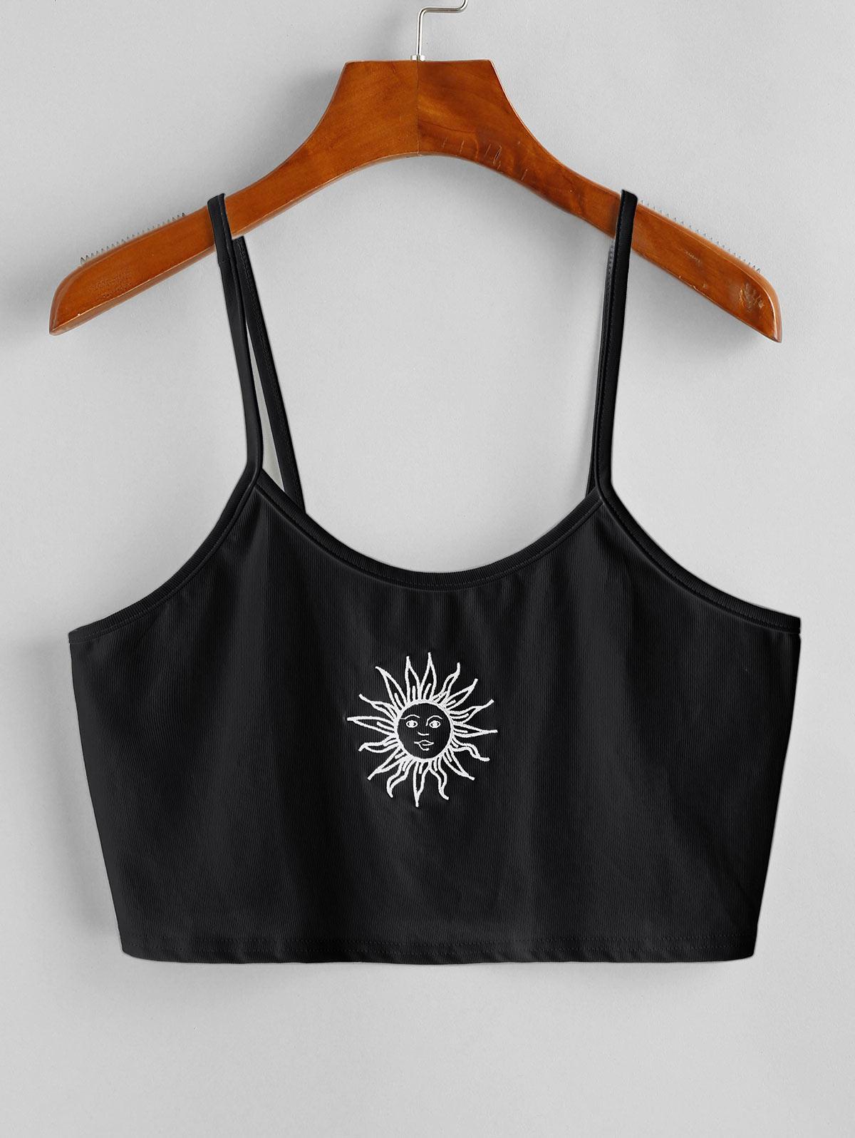 Sun Embroidered Crop Cami Top