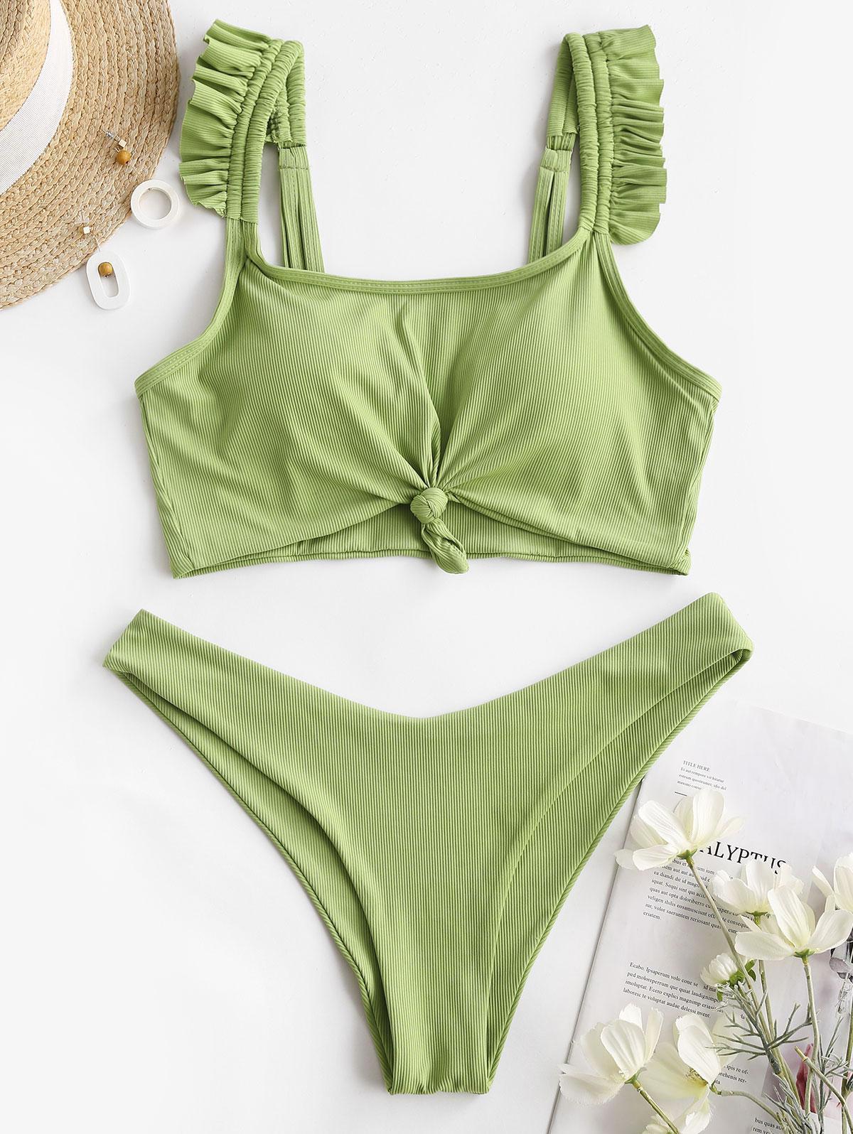 zaful Ruffle Ribbed Tankini Swimwear
