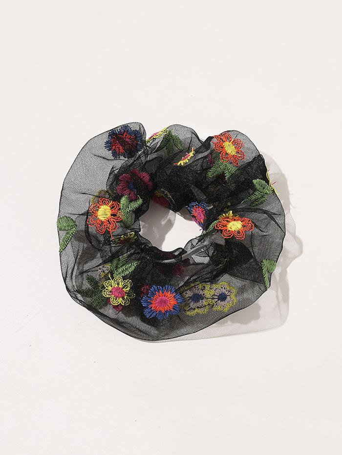 Floral Embroidery Mesh Scrunchy