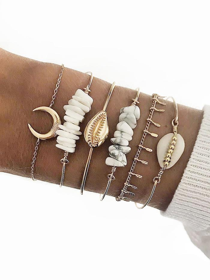 6Pcs Crescent Cowrie Shell Bracelet Set