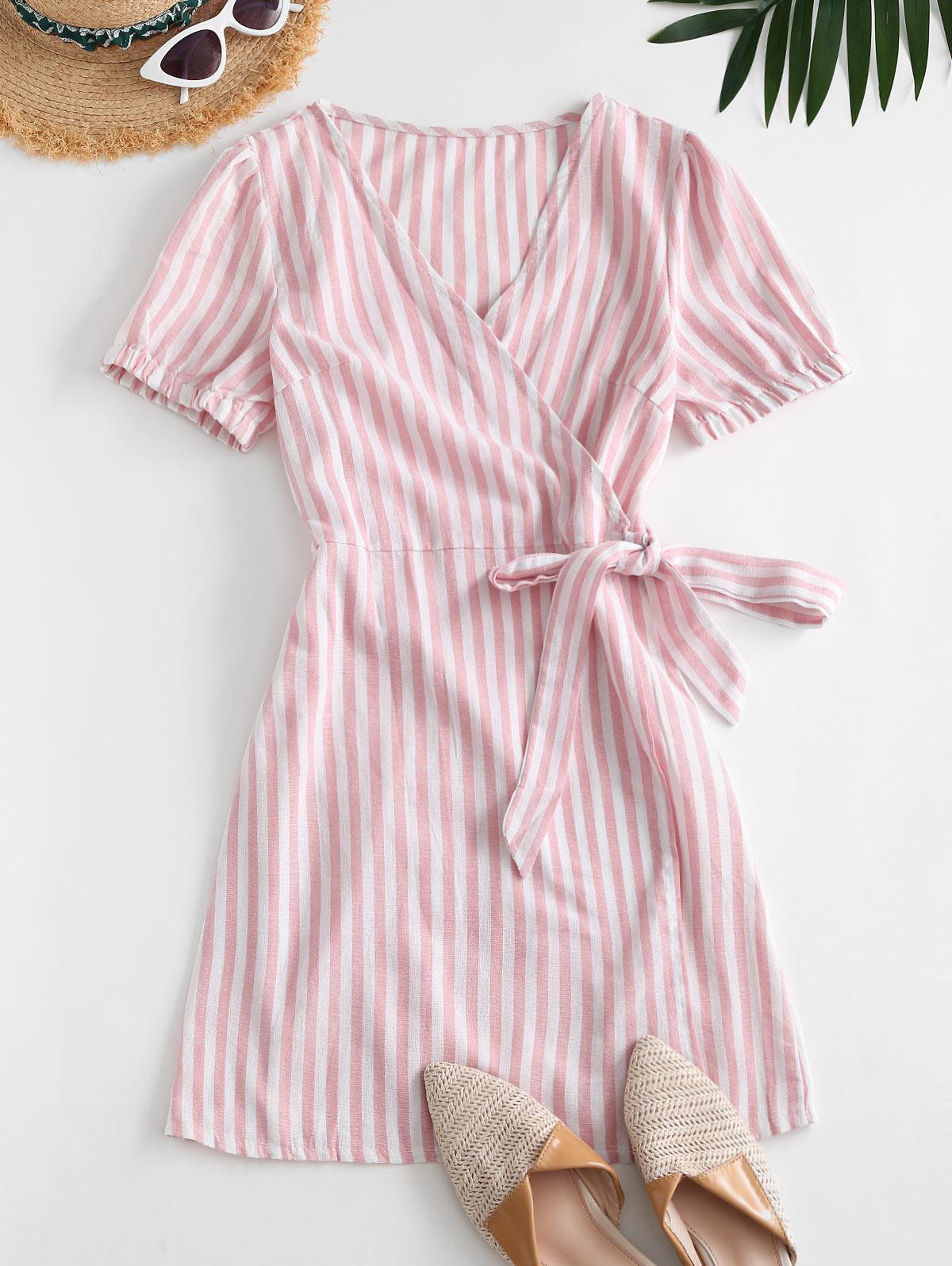 Puff Sleeve Stripes Wrap Mini Dress