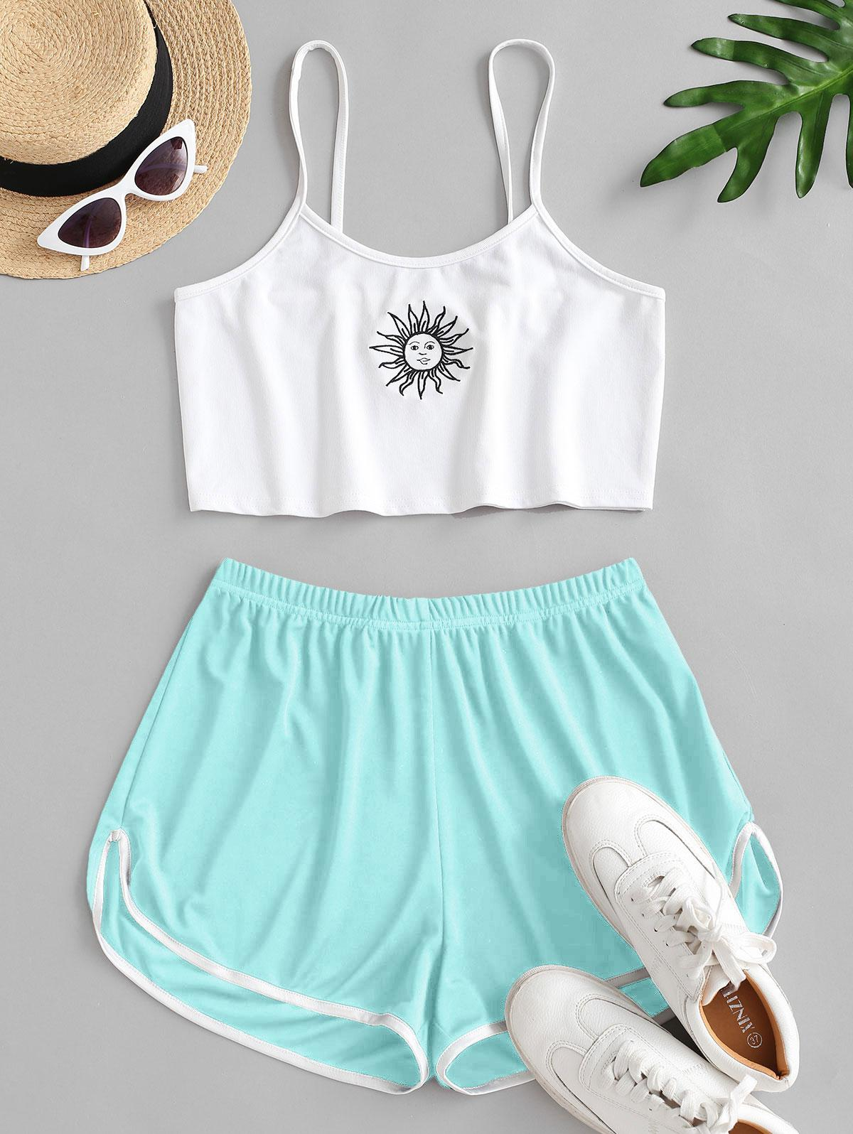 Sun Embroidered Contrast Piping Two Piece Set