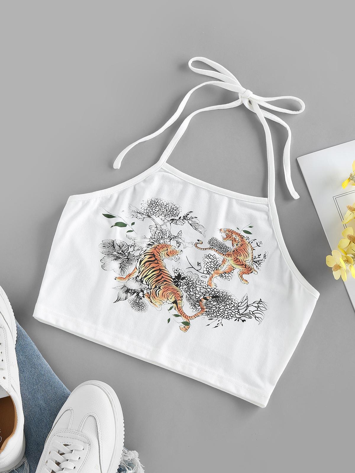 ZAFUL Tiger Flower Print Halter Crop Tank Top