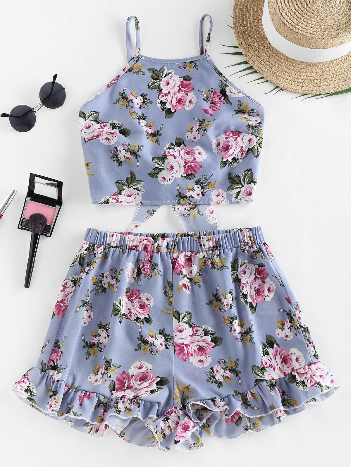 ZAFUL Flower Tie Back Ruffle Wide Leg Shorts Set