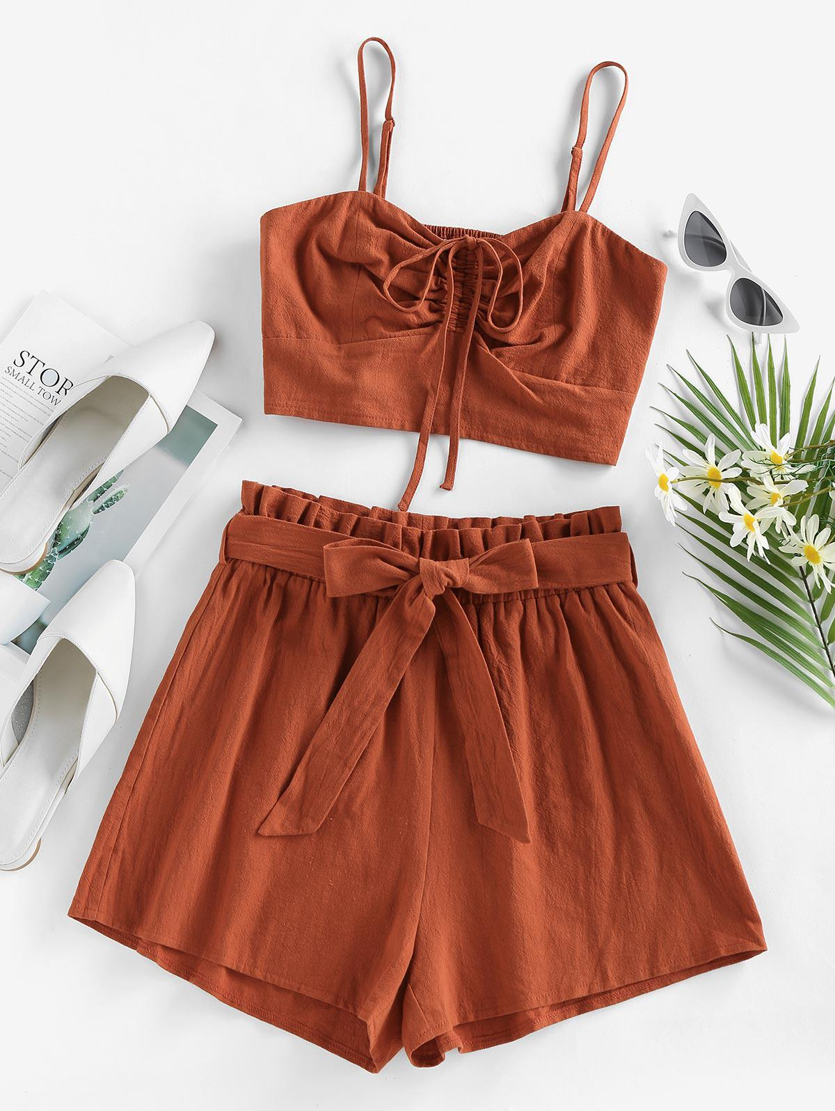ZAFUL Cinched Top and Paperbag Shorts Two Piece Set