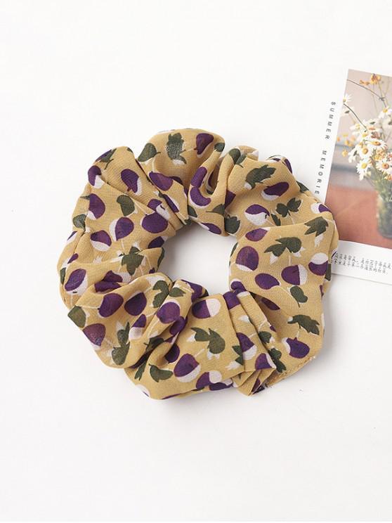chic Cherry Print Elastic Chiffon Scrunchy - YELLOW