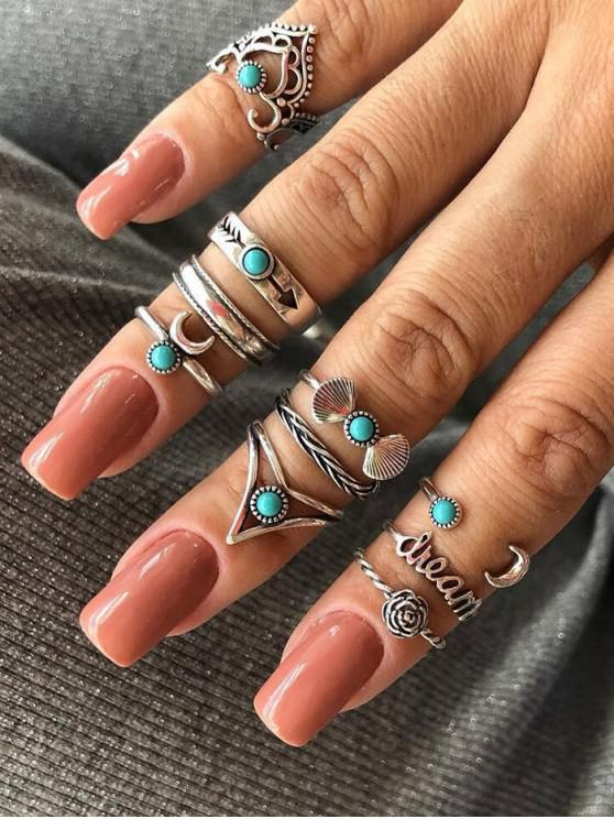 latest 10Pcs Retro Bowknot Floral Turquoise Rings Set - SILVER