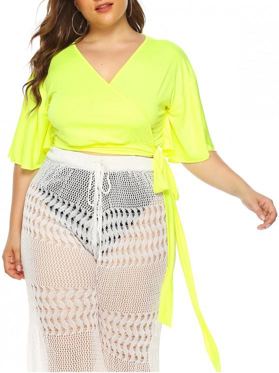 best Plus Size Neon Flutter Sleeves Cropped Wrap Cover Up Top - GREEN YELLOW 1X