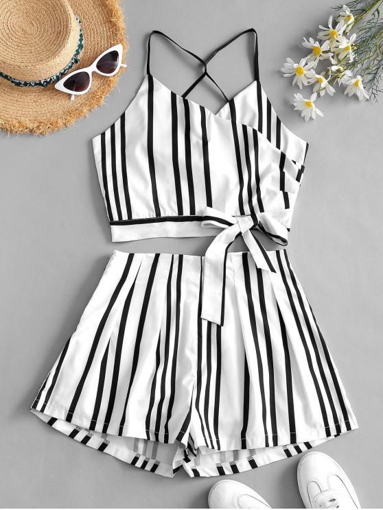 online Tie Striped Surplice Co Ord Set - WHITE S