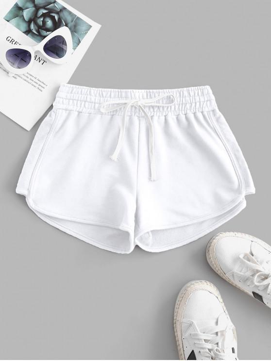 chic Lounge Drawstring Dolphin Sweat Shorts - WHITE 2XL
