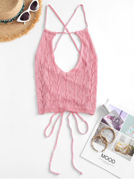 buy Lace Up Pointelle Knit Crop Top - LIGHT PINK ONE SIZE