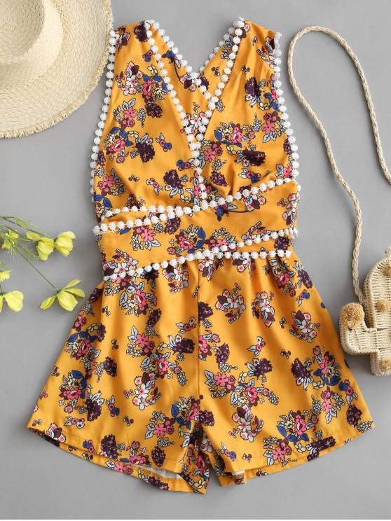 online Tie-around Criss Cross Tiny Floral Romper - YELLOW S