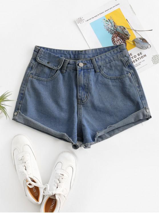 unique Cuff Off Cuffed Jean Shorts - DEEP BLUE XL