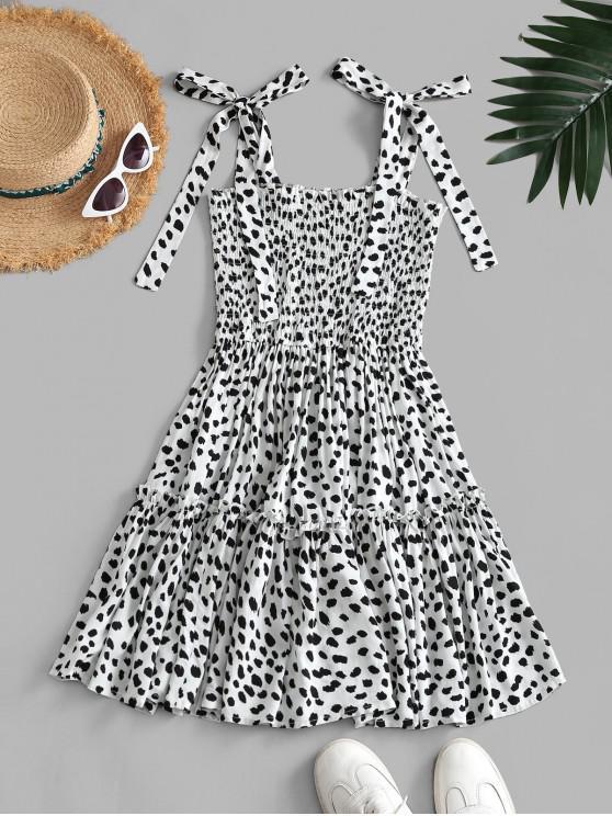 unique Leopard Tie Shoulder Smocked Tiered Dress - WHITE M