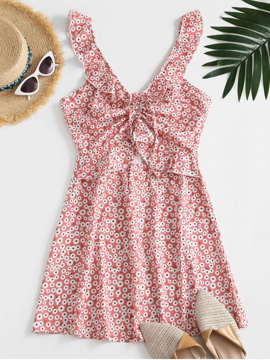 women Ditsy Floral Ruffles Cinched Mini Dress - LIGHT PINK M