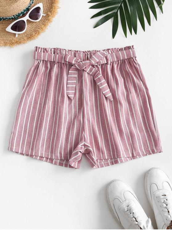 shop High Waisted Belted Stripes Wide Leg Shorts - LIGHT PINK S