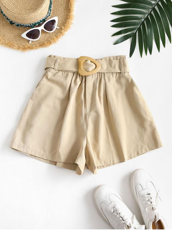 hot Slant Pockets Buckle Belted Paperbag Shorts - LIGHT COFFEE XL