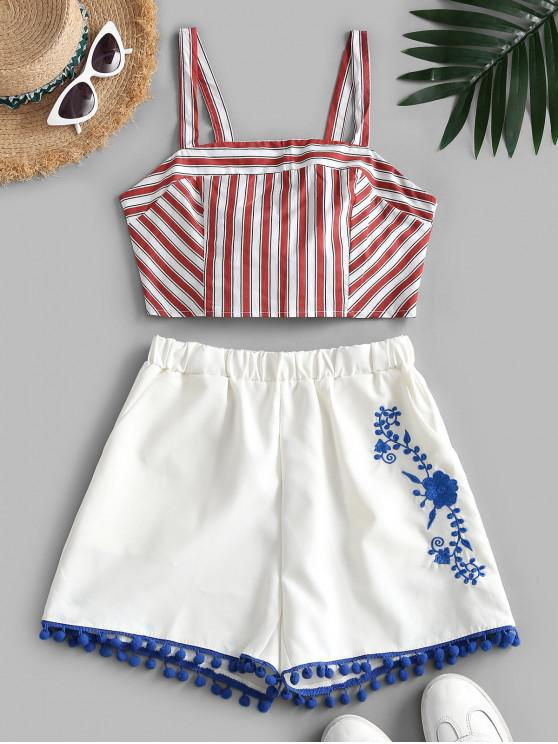 outfits Stripes Tie Back Embroidered Two Piece Set - RED L
