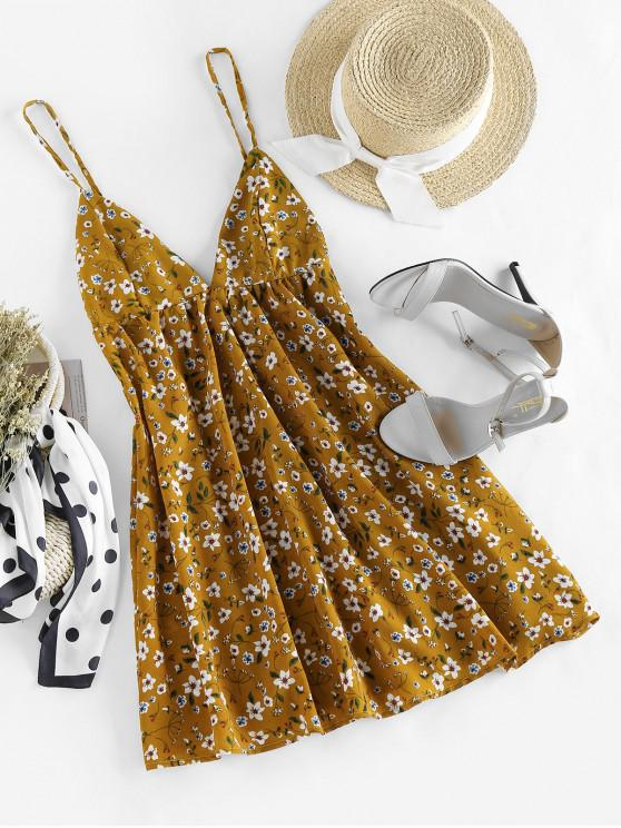 ZAFUL Ditsy Imprimare scobită Deschideți Înapoi Mini Dress - Galben S