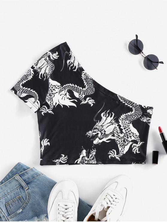 fashion ZAFUL Dragon Print Oriental One Shoulder Crop T-shirt - BLACK M