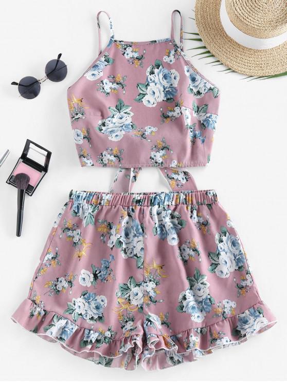 outfit ZAFUL Flower Tie Back Ruffle Wide Leg Shorts Set - KHAKI ROSE L