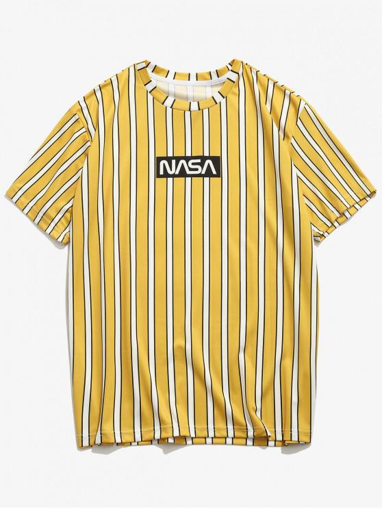 Letter Striped Printed Short Sleeves T-shirt - الأصفر M