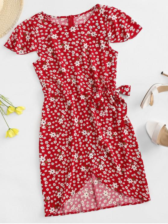 outfit Flutter Sleeve Tie Waist Tiny Floral Dress - RED S