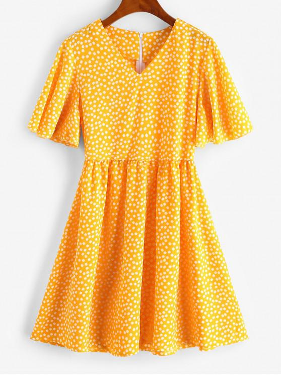 chic Flutter Sleeve Ditsy Floral Mini Dress - YELLOW L