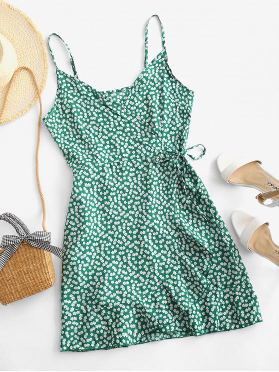 best Cami Ditsy Floral Ruffles Wrap Dress - DEEP GREEN S