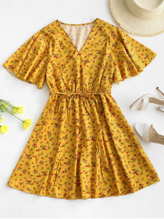 Belted Flutter Sleeve Ditsy Floral Mini Dress - اصفر غامق L