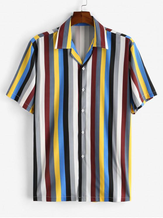 hot Colorful Striped Printed Button Shirt - COFFEE 2XL