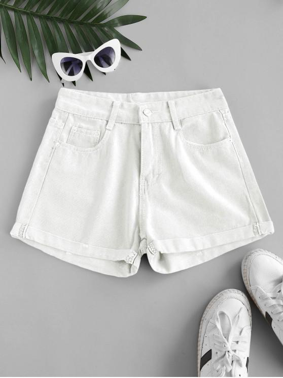 High Waisted Cuffed Hem Denim Shorts - أبيض 2XL
