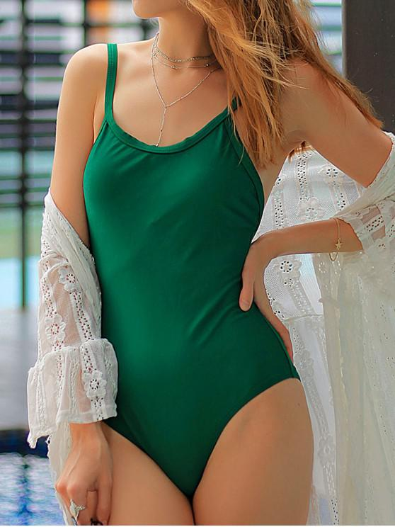 trendy ZAFUL Solid Padded Plain One-piece Swimsuit - MEDIUM SEA GREEN L