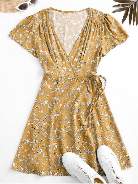 women's Flutter Sleeve Ditsy Floral Wrap Dress - YELLOW S