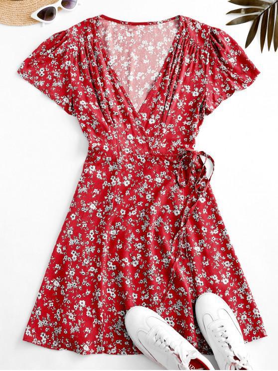 online Flutter Sleeve Ditsy Floral Wrap Dress - RED M