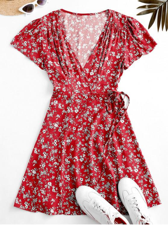 Flutter Sleeve Ditsy Floral Wrap Dress - أحمر L