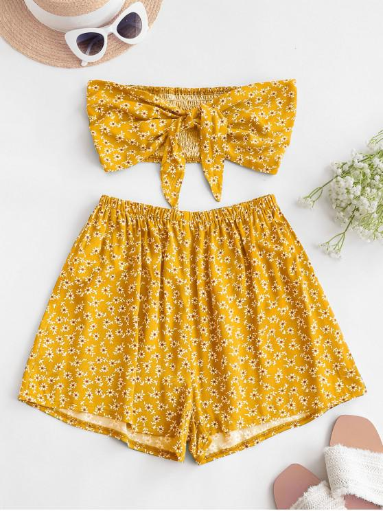 new ZAFUL Smocked Tie Front Ditsy Floral Bandeau Top Set - YELLOW S