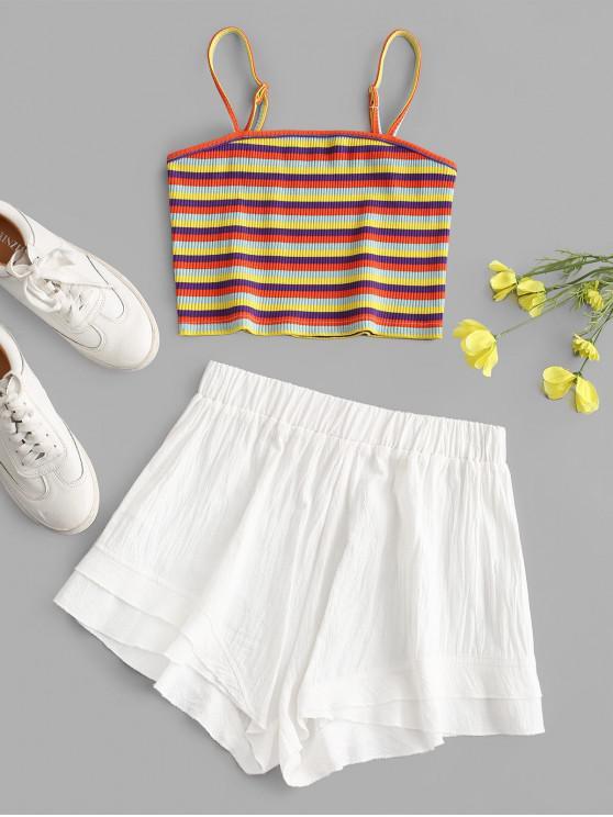 Top e Pantaloni di ZAFUL a Costine a Righe Colorate - Multi Colori-A M
