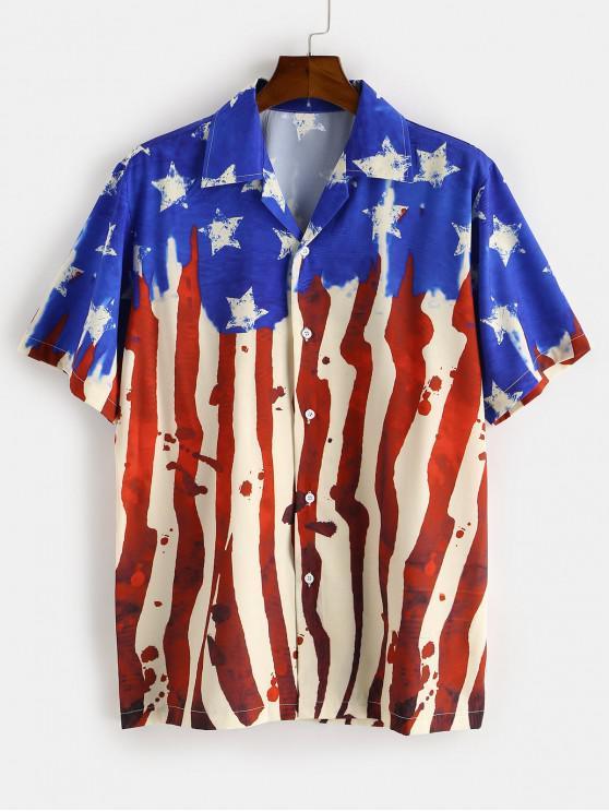 Camisa de Manga Corta con Estampado de Bandera Americana - Azul XL