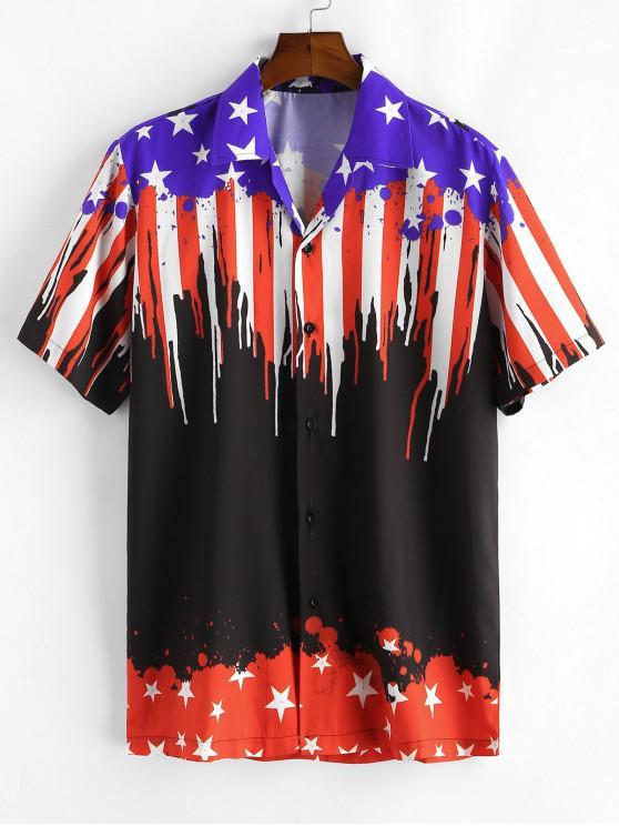 Camisa Casual con Estampado de Bandera de Estados Unidos - Negro XL